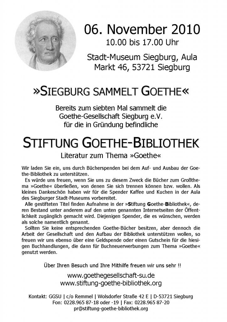 Aktionsplakat: Siegburg sammelt Goethe '10